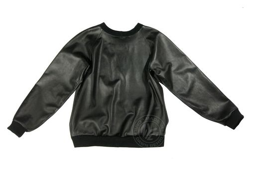 Handmade Mens Custom Made Leather Sweatshirt By Behrle Nyc