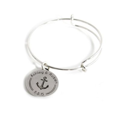 Custom Made Your Logo As A Charm On An Adjustable Wire Bangle
