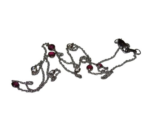 Custom Made Alberto Juan 14 Kt White Gold Ruby And White Sapphire Eternity Necklace