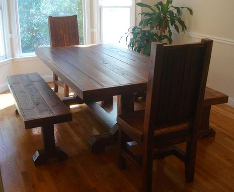 Custom Made Rustic Trestle Table Set W/ 2 Benches And 2 Chairs