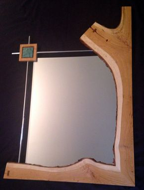 Custom Made Cherry Wood Live Edge Mirror With Custom Gingko Tile