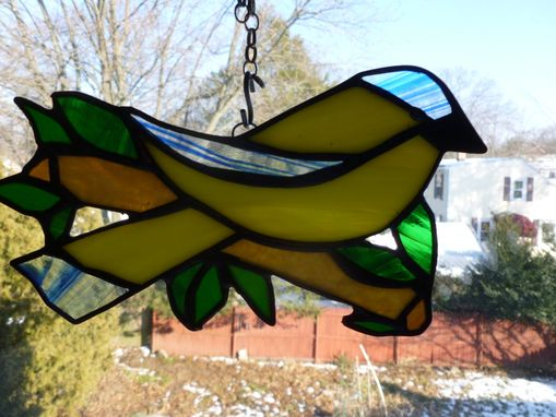 Custom Made Yellow Stained Glass Canary On A Branch