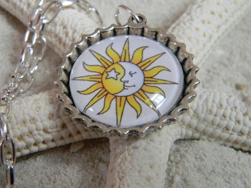 Custom Made Hippy Boho Design Flower Bezel Round Moon Sun Pendant Necklace Dimensional Cabochon Glass