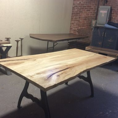 Custom Made Light Wood Dining Table, Ready To Ship, Spalted Local Hard Maple, Cast Iron Legs