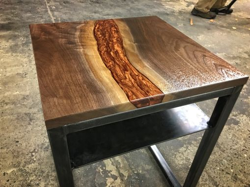Custom Made Liquid Copper, Walnut, And Blued Steel Side Table