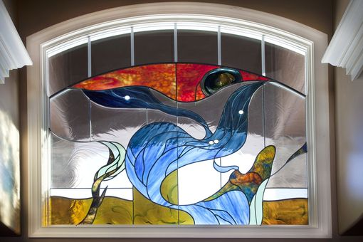 Custom Made Stained Glass Arched Transom Memorial Window