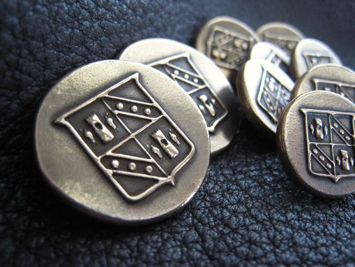 Custom Made Set Of Custom Buttons In Solid Bronze With Your Family Crest, Initial, Monogram, Or Business Logo
