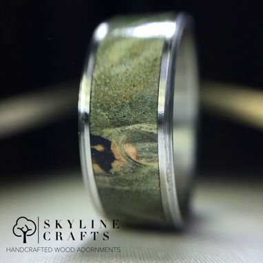 Custom Made Handcrafted Green Buckeye Burl Wood Ring On Your Choice Of Titanium Or 316 Stainless Steel