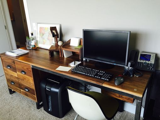 Custom Made Walnut Desk With File Cabinets And Lockable Storage
