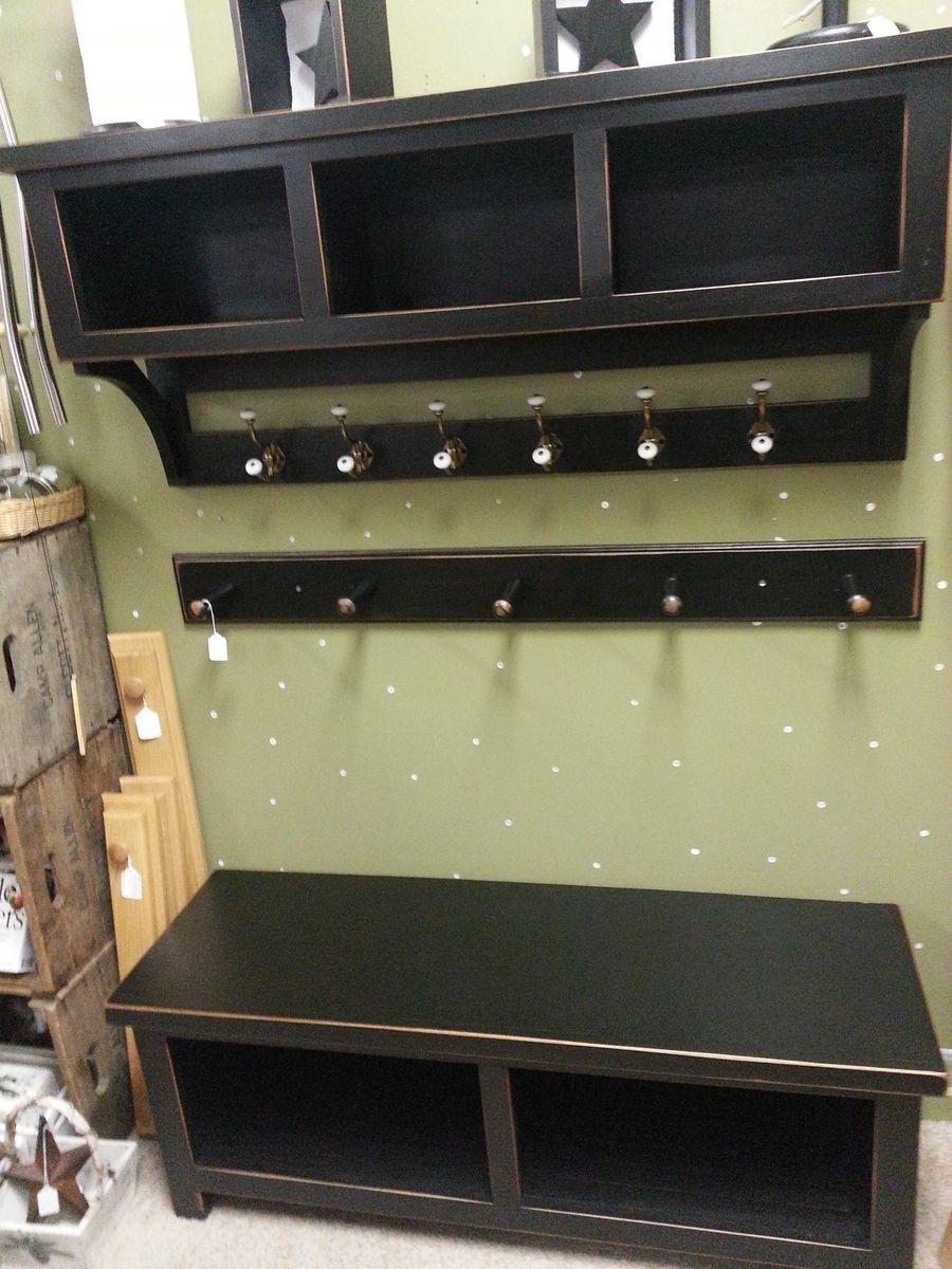 Custom Made Entrance Way Bench And Shelf With Coat Hooks