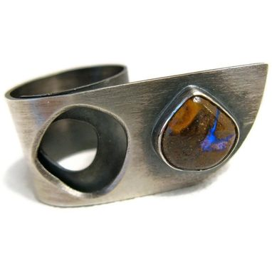 Custom Made Sterling Silver Ring With Boulder Opal