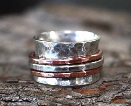 Custom Made Rustic Copper & Silver Spinner Ring - $155