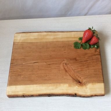 Custom Made Charcuterie Board, Cherry Wood, Live Edge Serving Tray