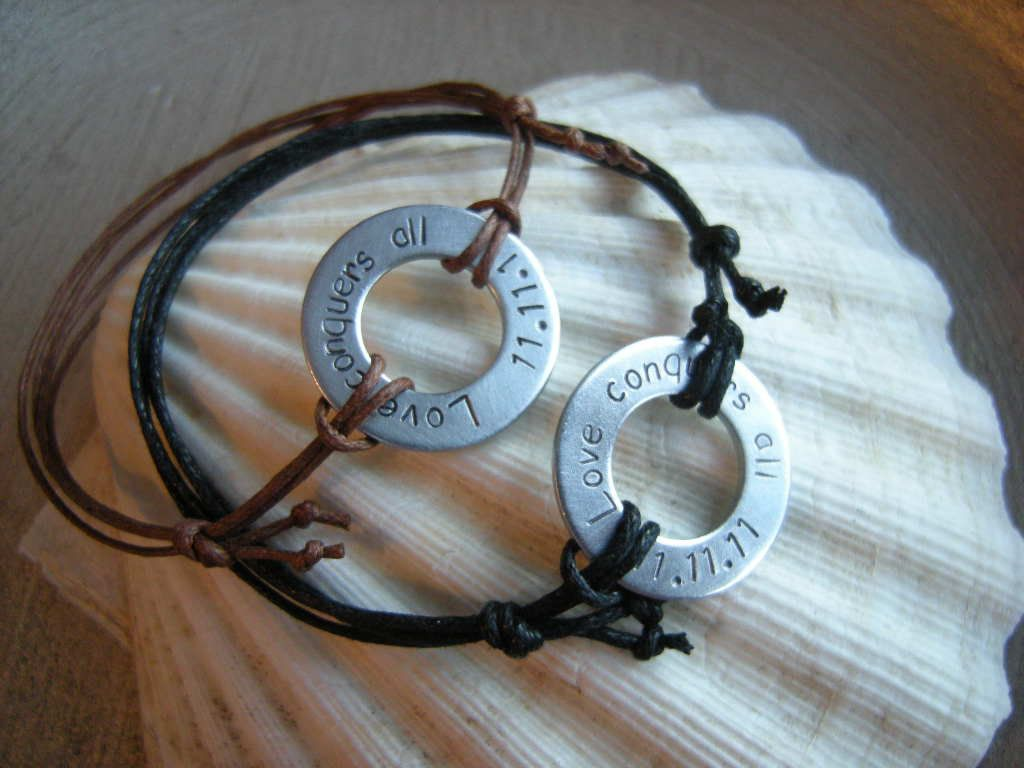 d5e6277301 Buy Hand Made Custom Lettered Washer Bracelets Or Necklaces, made to ...