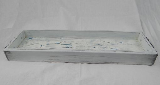 Custom Made Rustic Rectangular Tray, Blue Crackle Coffee Table Tray, Distressed Wood Serving Tray