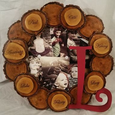 Custom Made Reclaimed Wood Disc Wreath // Photo Keepsake Wreath // Personalized With Pyrography