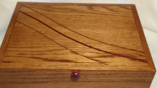 Custom Made Jewelry Box-Red Oak With Purpleheart Accents And Knobs