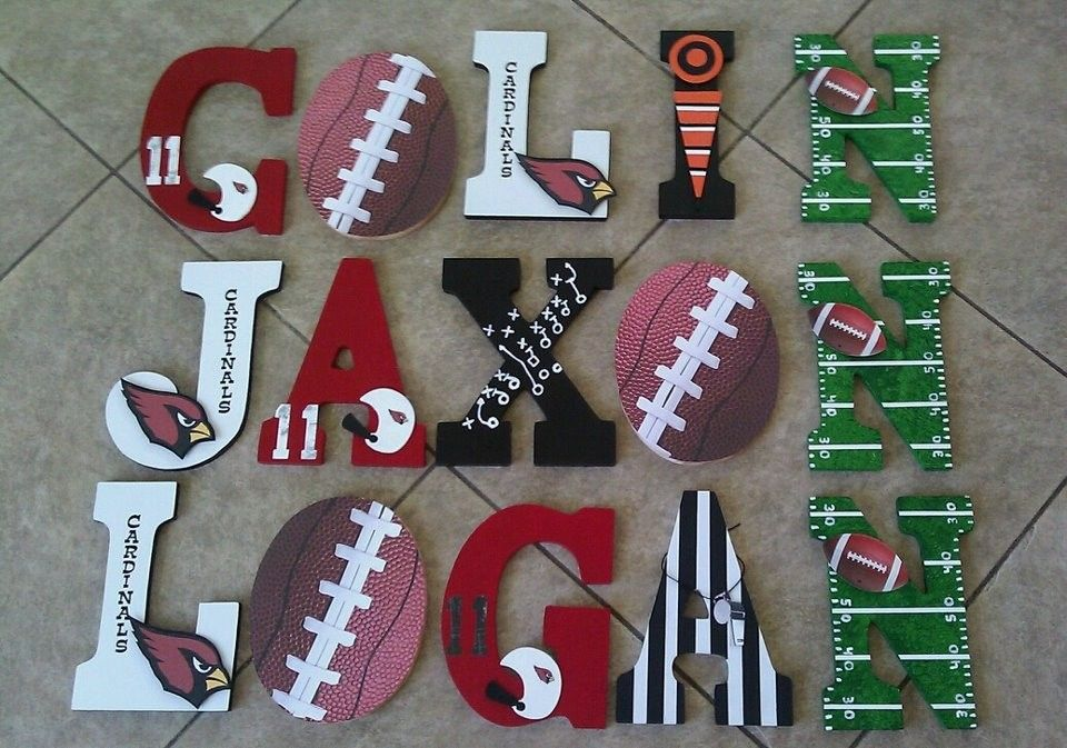 Custom Sports Themed Wooden Letters By Kid Murals By Dana