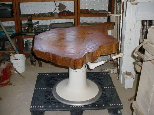 Custom Made Sold Barber Chair Cypress Slab Top Indusrtial Style Dinning Table