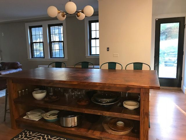Handmade Reclaimed Kitchen Island With Open Shelving And