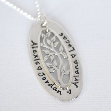 Custom Made Tree Of Life Personalized Oval Mother's Necklace