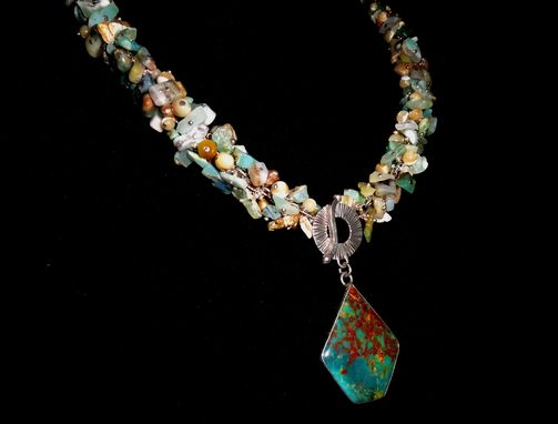 Custom Made Peruvian Opal Necklace W Cultured Pearls, Turquoise Pendant Clasp