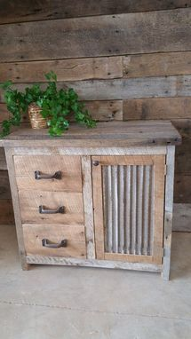 Custom Made Reclaimed Barn Wood Vanity Or Cabinet With 3 Drawers And A Door