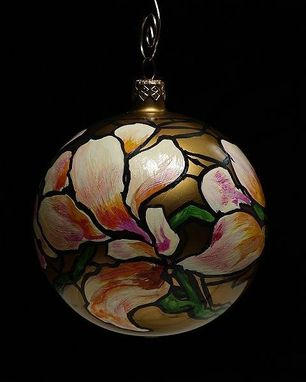 Custom Made Hand Painted Tiffany Stained Glass Christmas Ornament