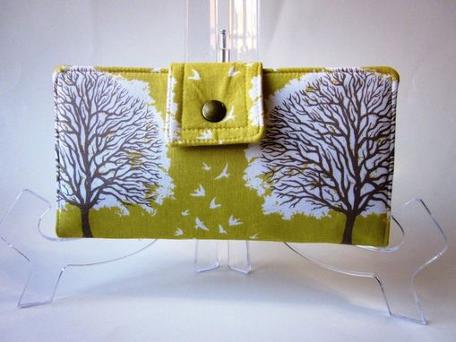 Custom Made Handmade Women Yellow Wallet Brown White Tree And Birds