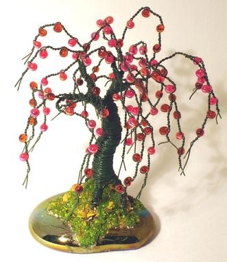 Custom Made Small Apple No.2, Beaded Wire Tree Sculpture