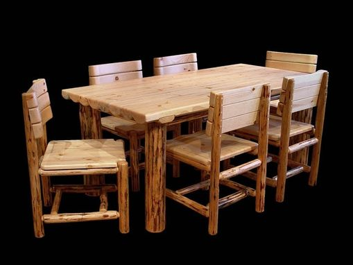 Custom Made Half Log Mountain Hewn Dining Set