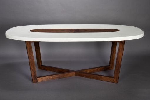 Custom Made Concrete And Walnut 'Super-Ellipse' Dining Table