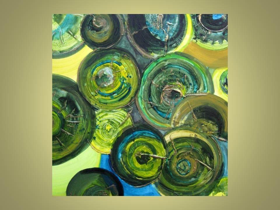 Hand Made Green Circles Painting Original Abstract 20 Quot X20