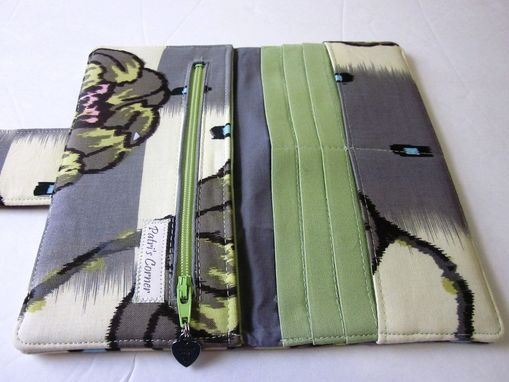 Custom Made Handmade Women Wallet Lotus Water Lily Grey Green