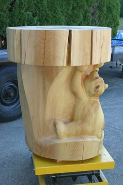 "Custom Made Carved Bear Table / ""A Piece Of Cake!"""