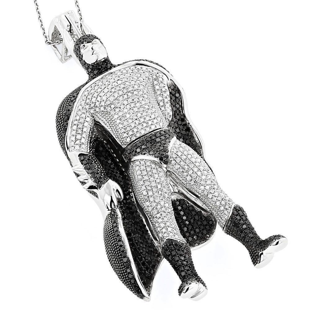 Handmade batman white black diamond pendant by itshot jewelry custom made batman white black diamond pendant aloadofball Images