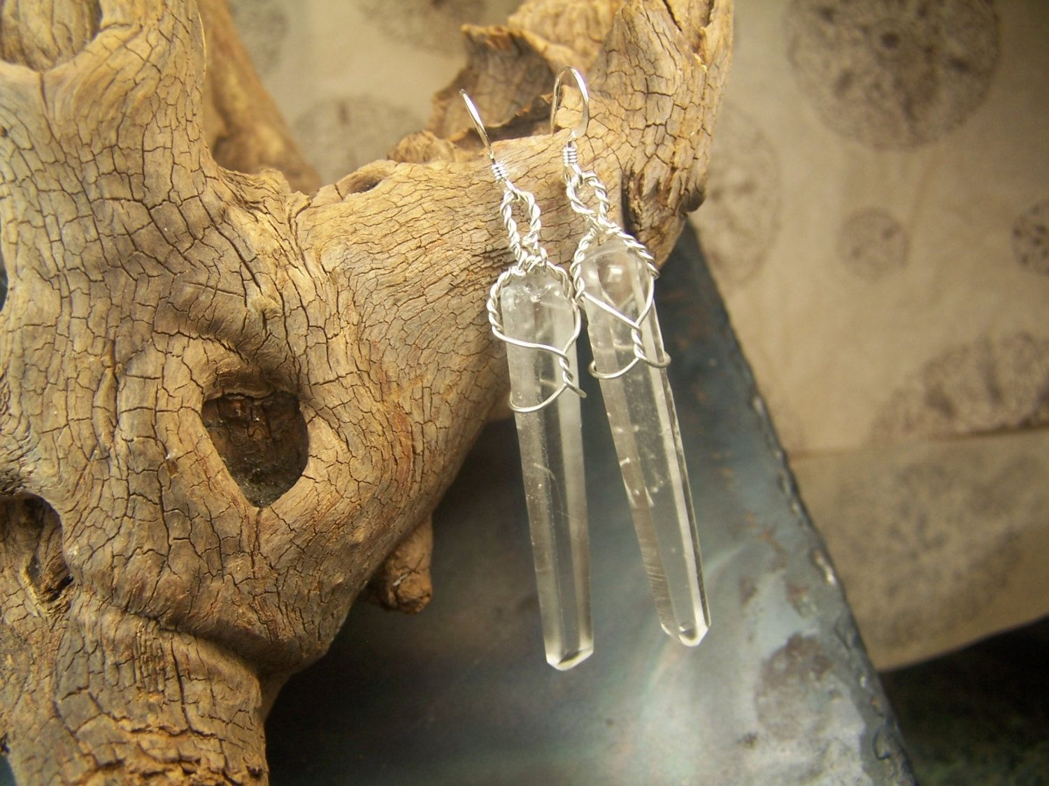 Hand Crafted Earrings - Quartz Crystal Wire Wrap - Wire Wrapped ...