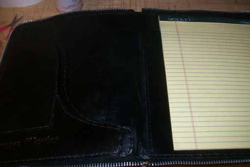 Custom Made Custom Leather Zippered Portfolio With Custom Design And Personalization