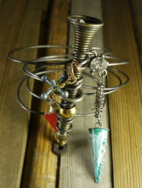 Custom Made Industrial Steel Wire Doorstop Charm Bangle Bracelet