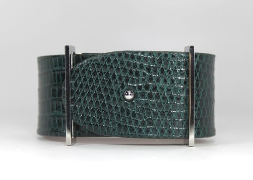 Custom Made Genuine Lizard Luxury Bracelet In Emerald Green - Exotic Leather