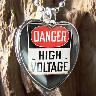 Custom Made Danger High Voltage Sign Sterling Silver Heart Necklace 342-Shn