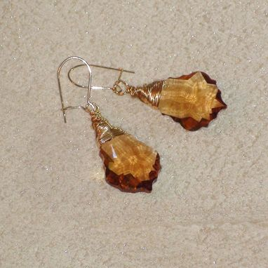 Custom Made Gold (Topaz) Swarovski Crystal Earrings On Gold-Filled Earwires