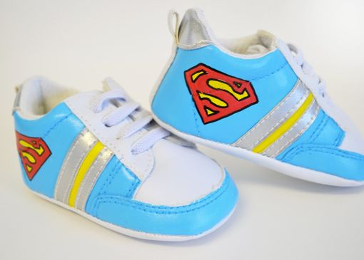 Custom Made Baby Shoes/ Baby Sneaker/ Super Man/ Hand Painted/ White Leather Infant Shoes