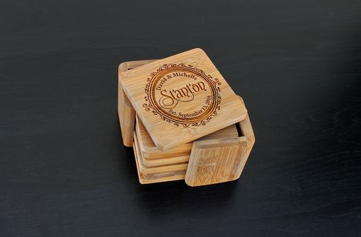 Custom Made Custom Bamboo Coasters, Custom Engraved Coasters --Cst-Bam-Stanton
