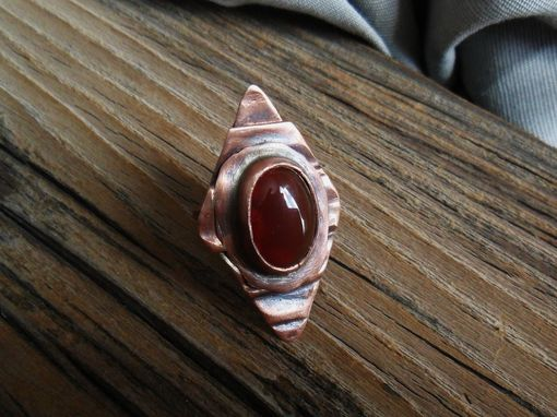 Custom Made Textured Copper Ring With Oval Carnelian Stone