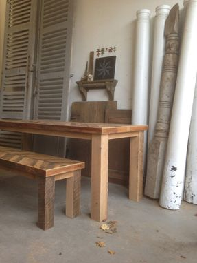 Custom Made Rustic Reclaimed & Sustainably Harvested Wood Kitchen Dining Table With Matching Bench