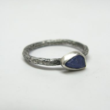 Custom Made Forged Branch Ring With Natural Rough Sapphire