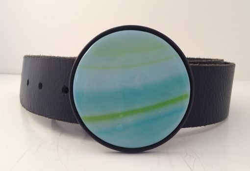 Custom Made Seablue And Green Round Fused Glass Belt Buckle