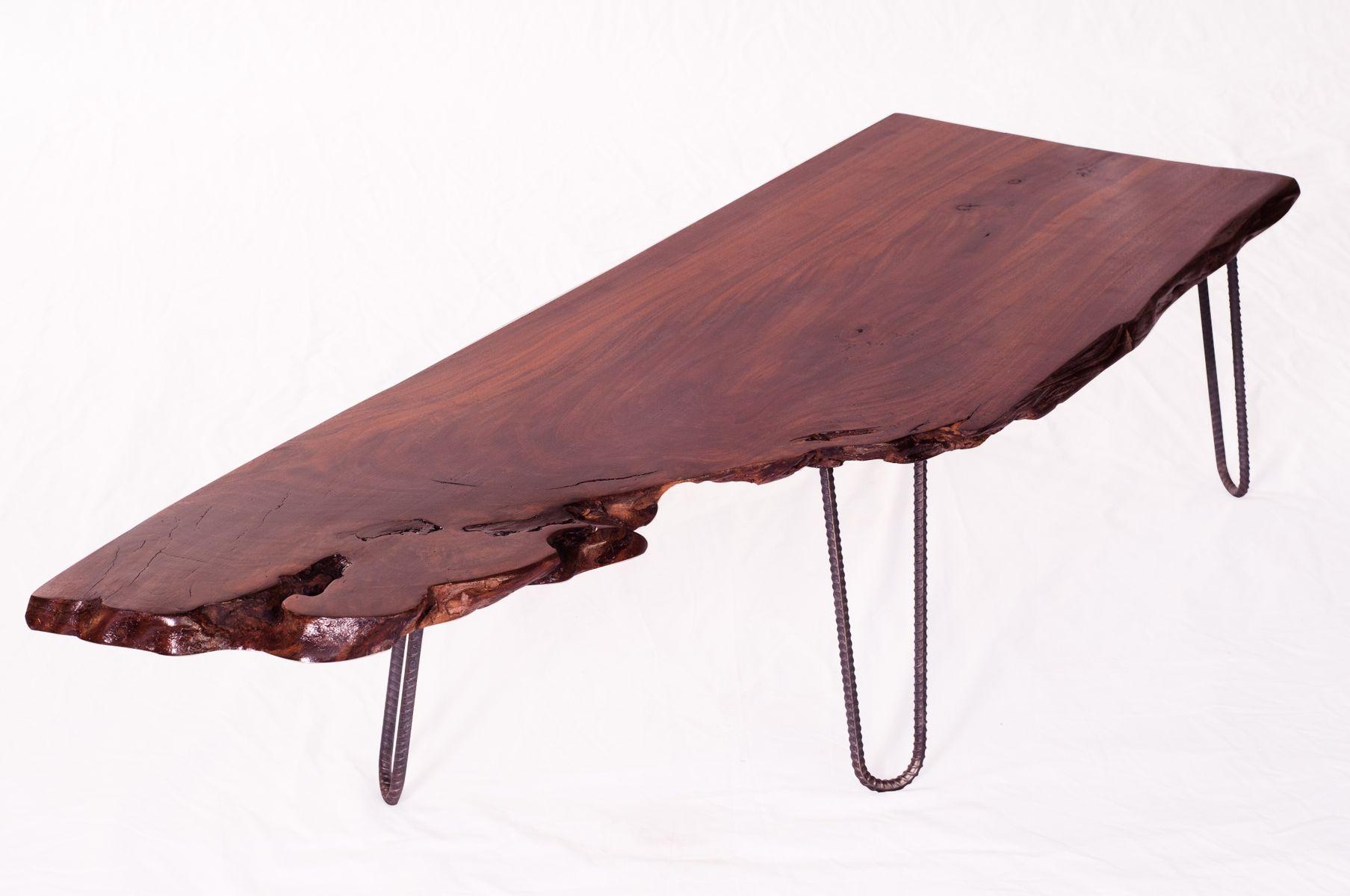 Custom Industrial Walnut Coffee Table Natural Edges Rebar Legs by