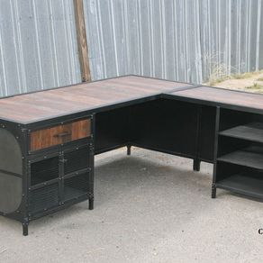 Vintage Industrial Desk W/Return. Reclaimed Wood & Steel. Urban, Modern by